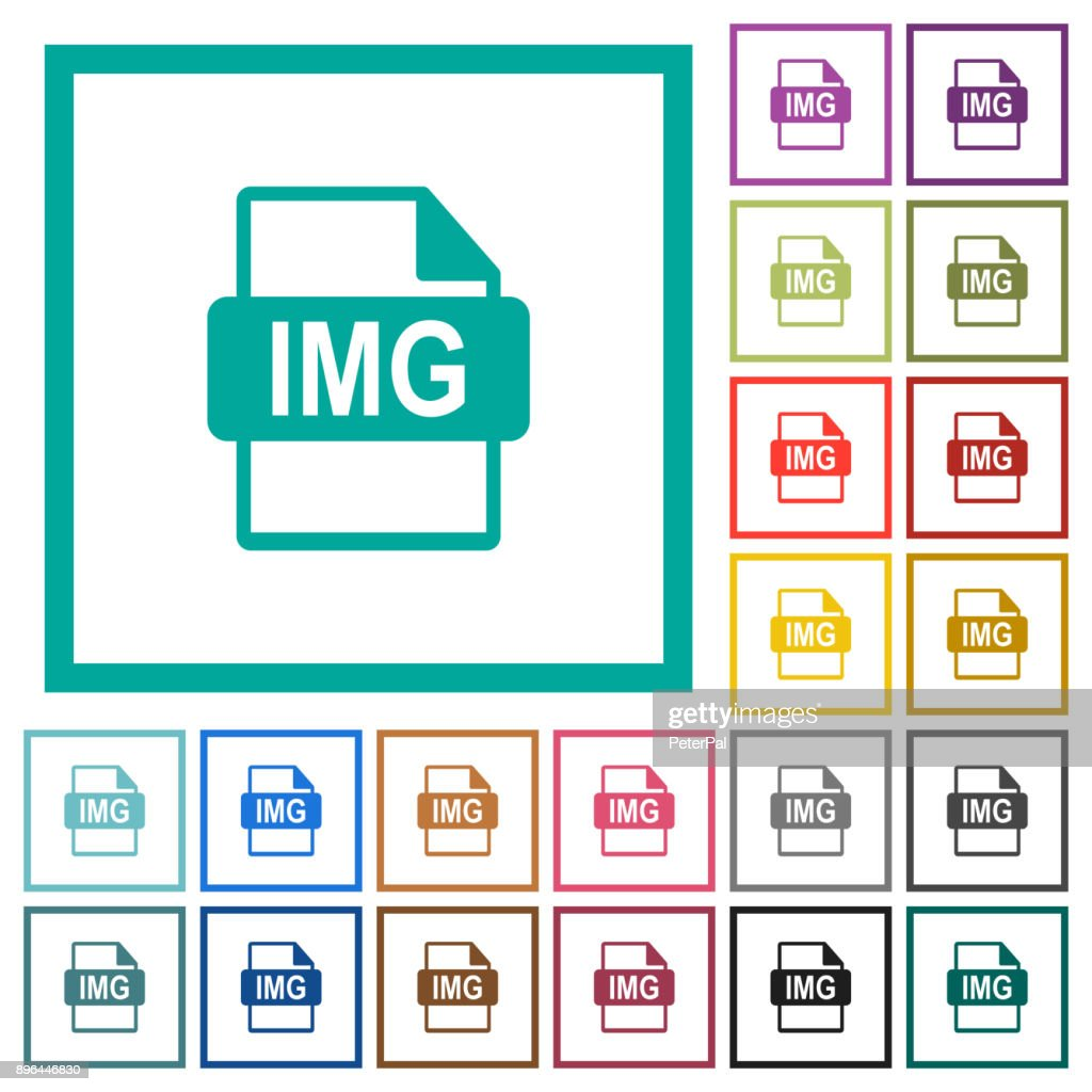 IMG file format flat color icons with quadrant frames