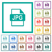 JPG file format flat color icons with quadrant frames