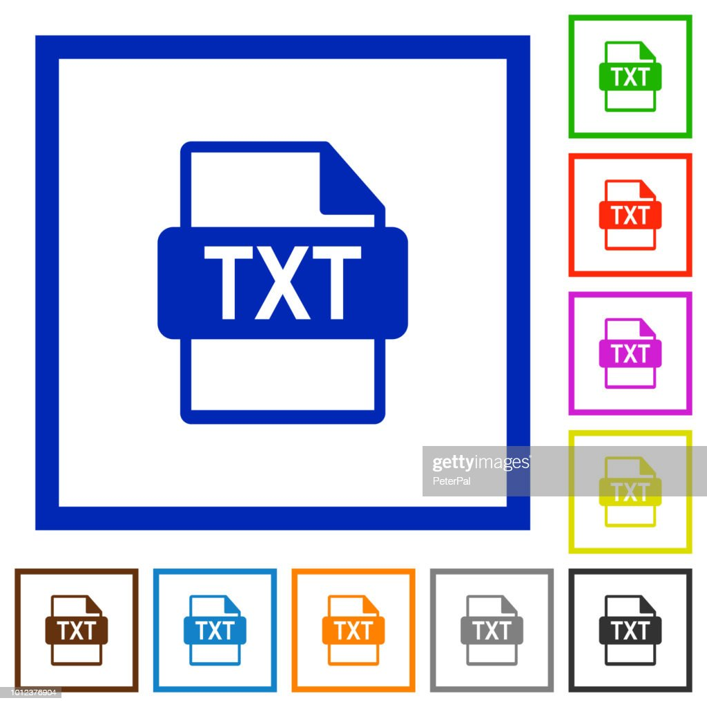 TXT file format flat framed icons