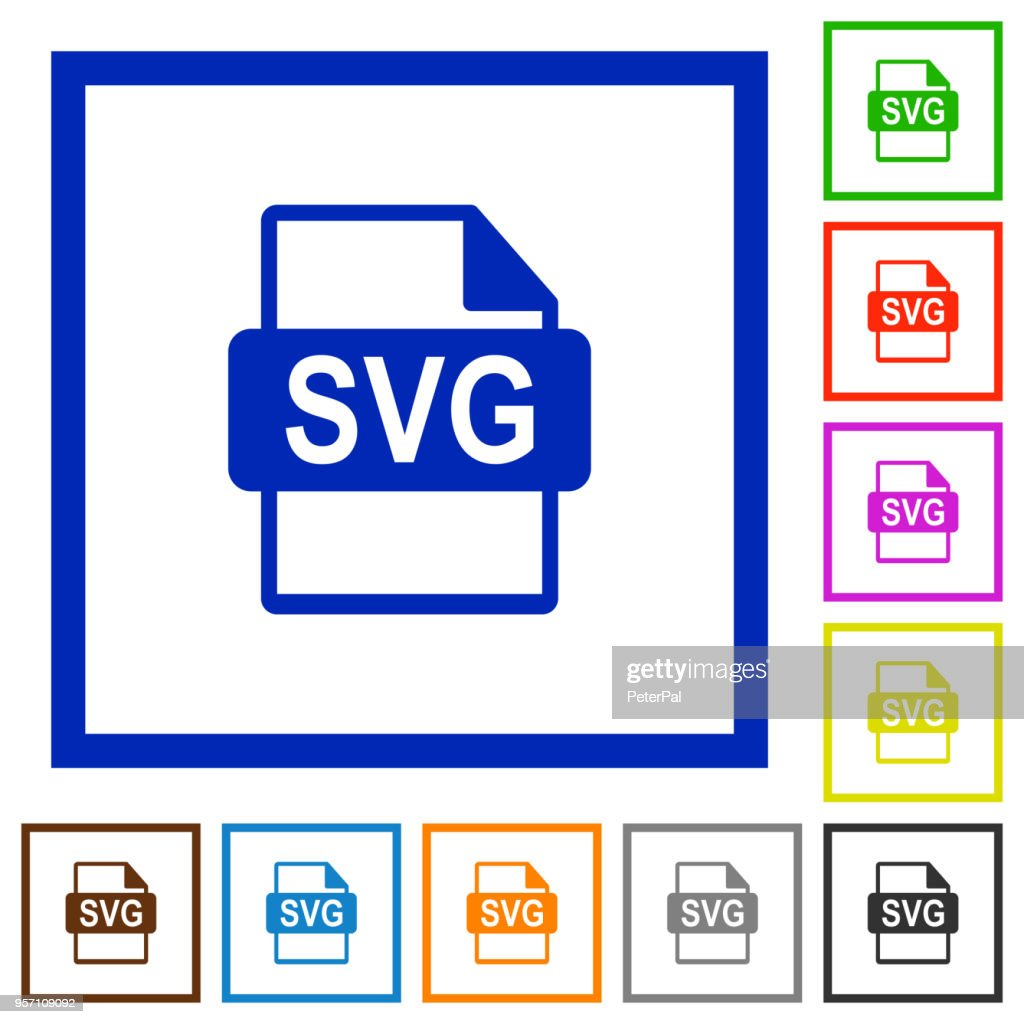 SVG file format flat framed icons