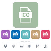 ICO file format flat icons on color rounded square backgrounds