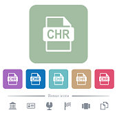 CHR file format flat icons on color rounded square backgrounds