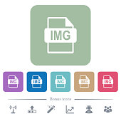 IMG file format flat icons on color rounded square backgrounds