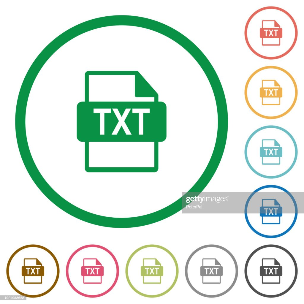 TXT file format flat icons with outlines