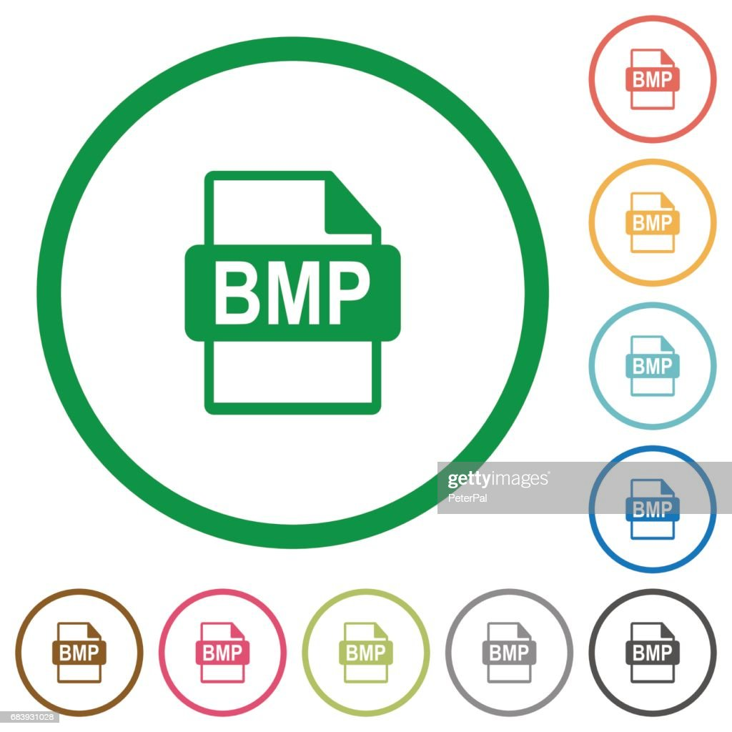 BMP file format flat icons with outlines