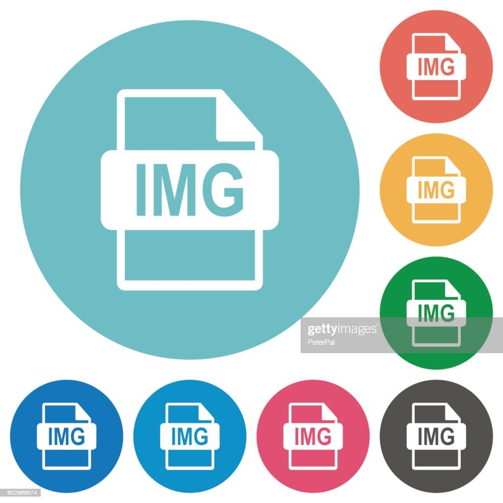 IMG file format flat round icons