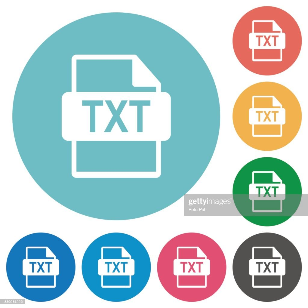 TXT file format flat round icons