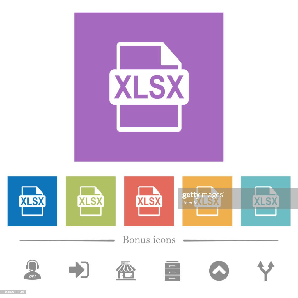 XLSX file format flat white icons in square backgrounds
