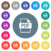 PDF file format flat white icons on round color backgrounds