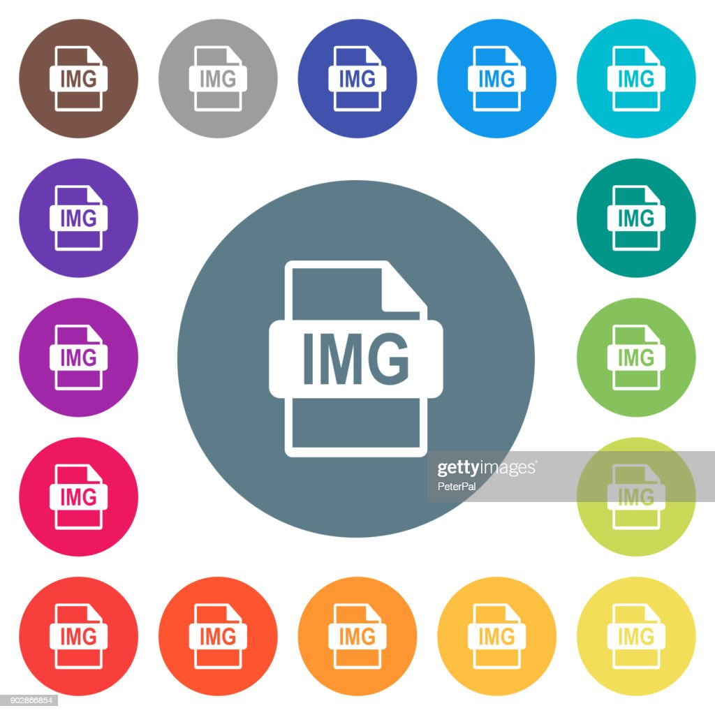 IMG file format flat white icons on round color backgrounds