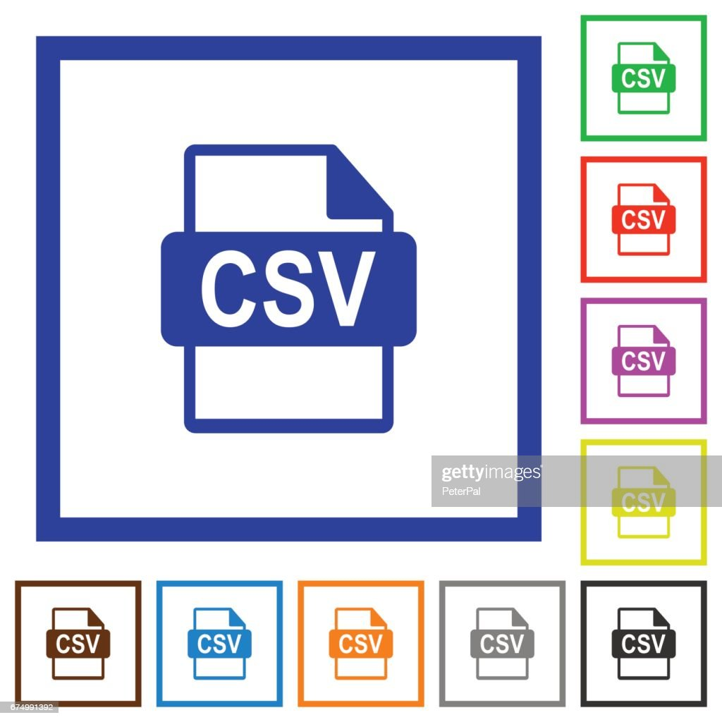 CSV file format framed flat icons
