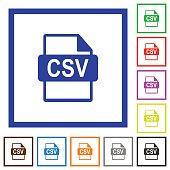 CSV file format framed flat icons