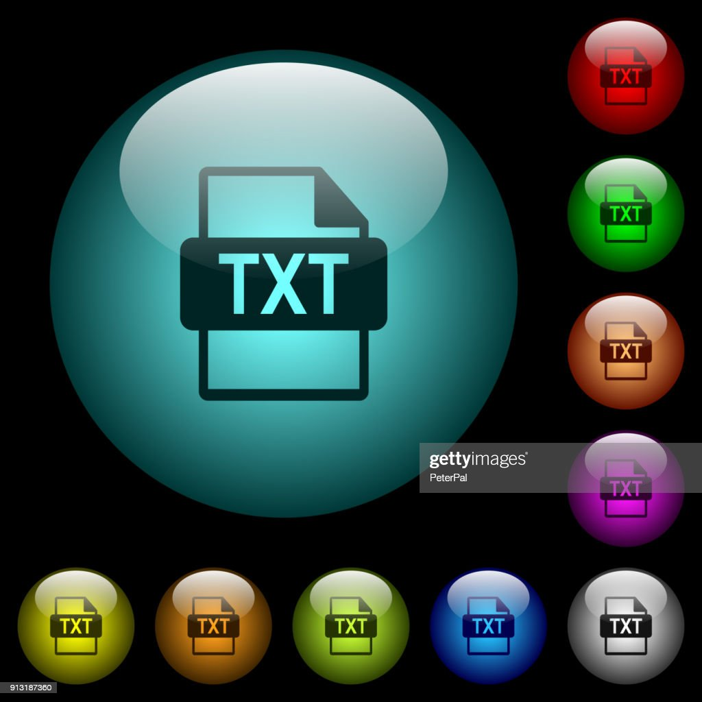 TXT file format icons in color illuminated glass buttons