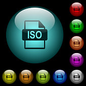 ISO file format icons in color illuminated glass buttons