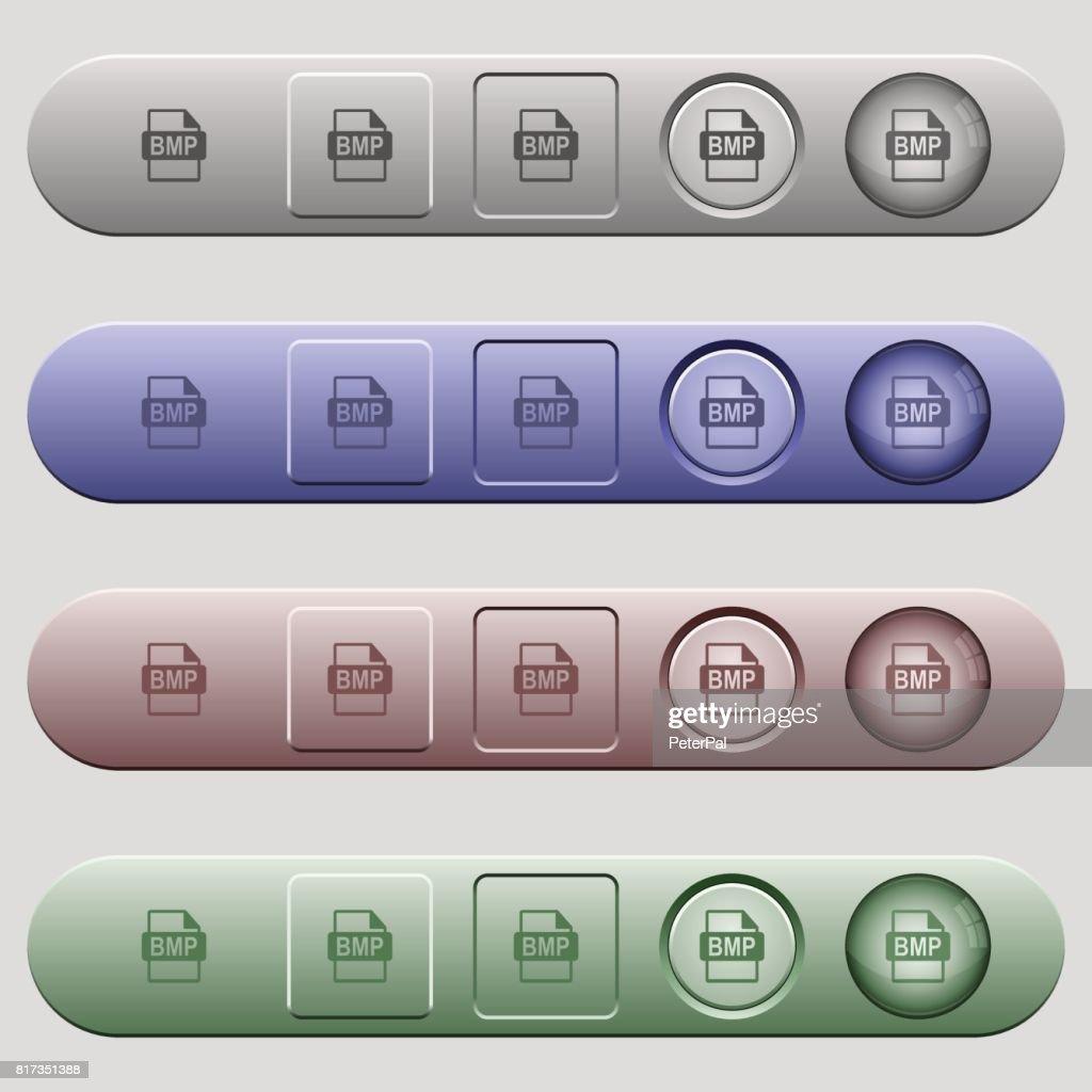 BMP file format icons on horizontal menu bars