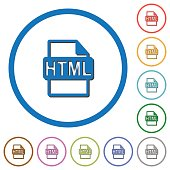 HTML file format icons with shadows and outlines