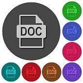DOC file format icons with shadows on round backgrounds
