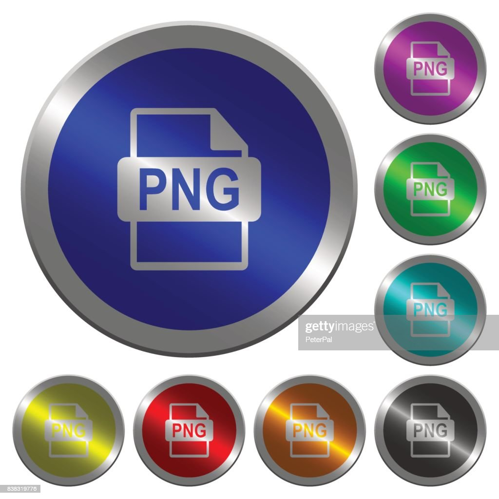 PNG file format luminous coin-like round color buttons