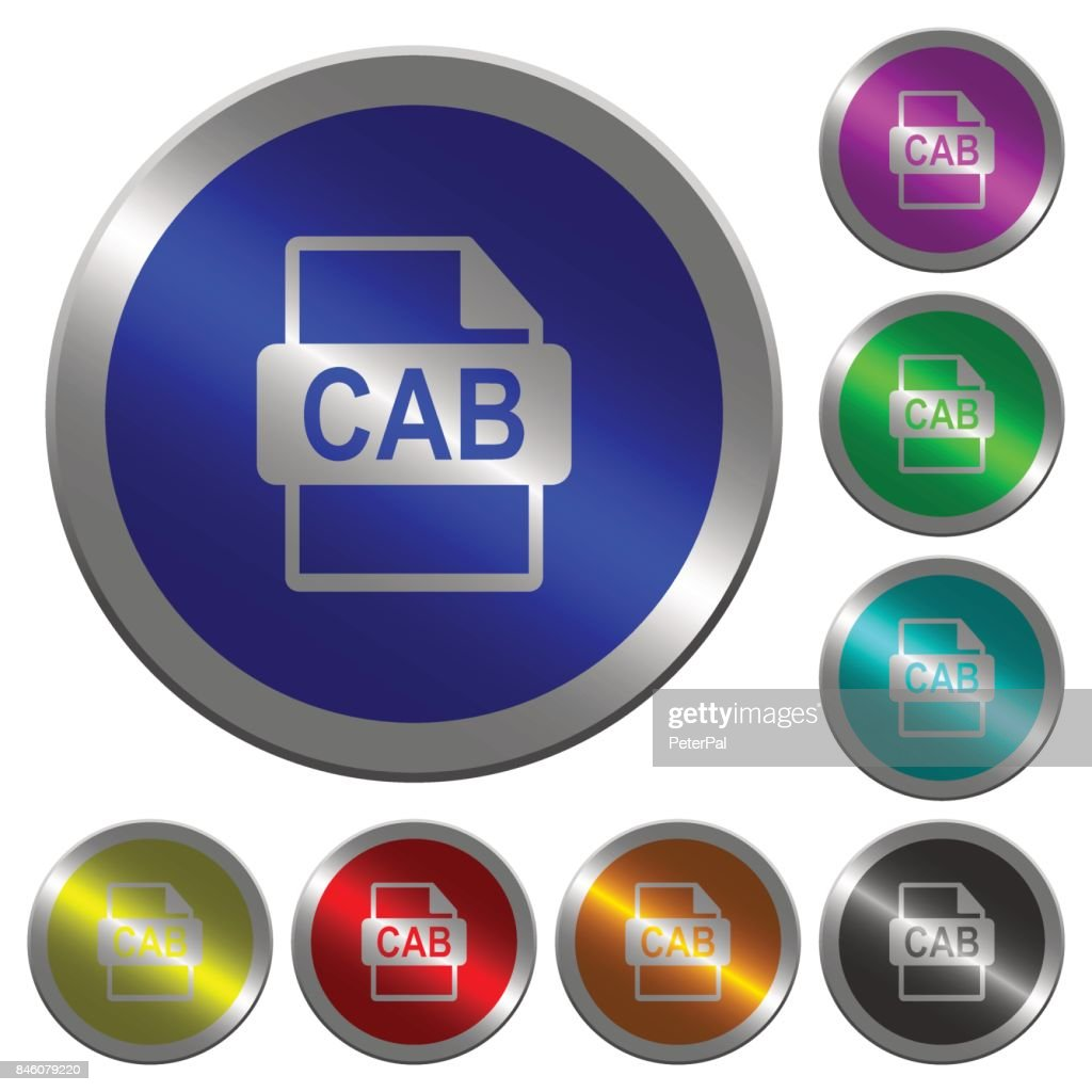 CAB file format luminous coin-like round color buttons