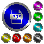 PDF file format luminous coin-like round color buttons