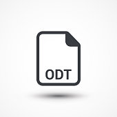 File format or file extension ODT icon for interface applications and websites isolated on white background