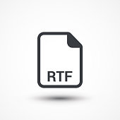 File format or file extension RTF icon for interface applications and websites isolated on white background