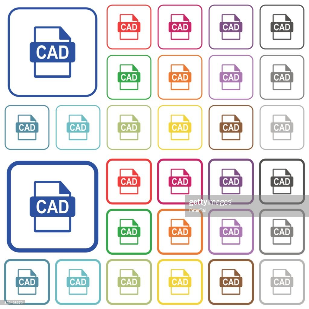 CAD file format outlined flat color icons
