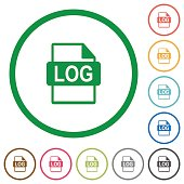 LOG file format outlined flat icons