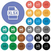 XLSX file format round flat multi colored icons