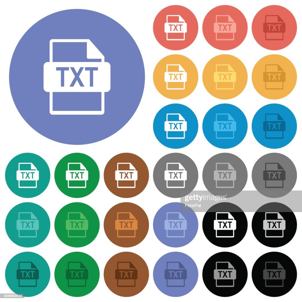 TXT file format round flat multi colored icons