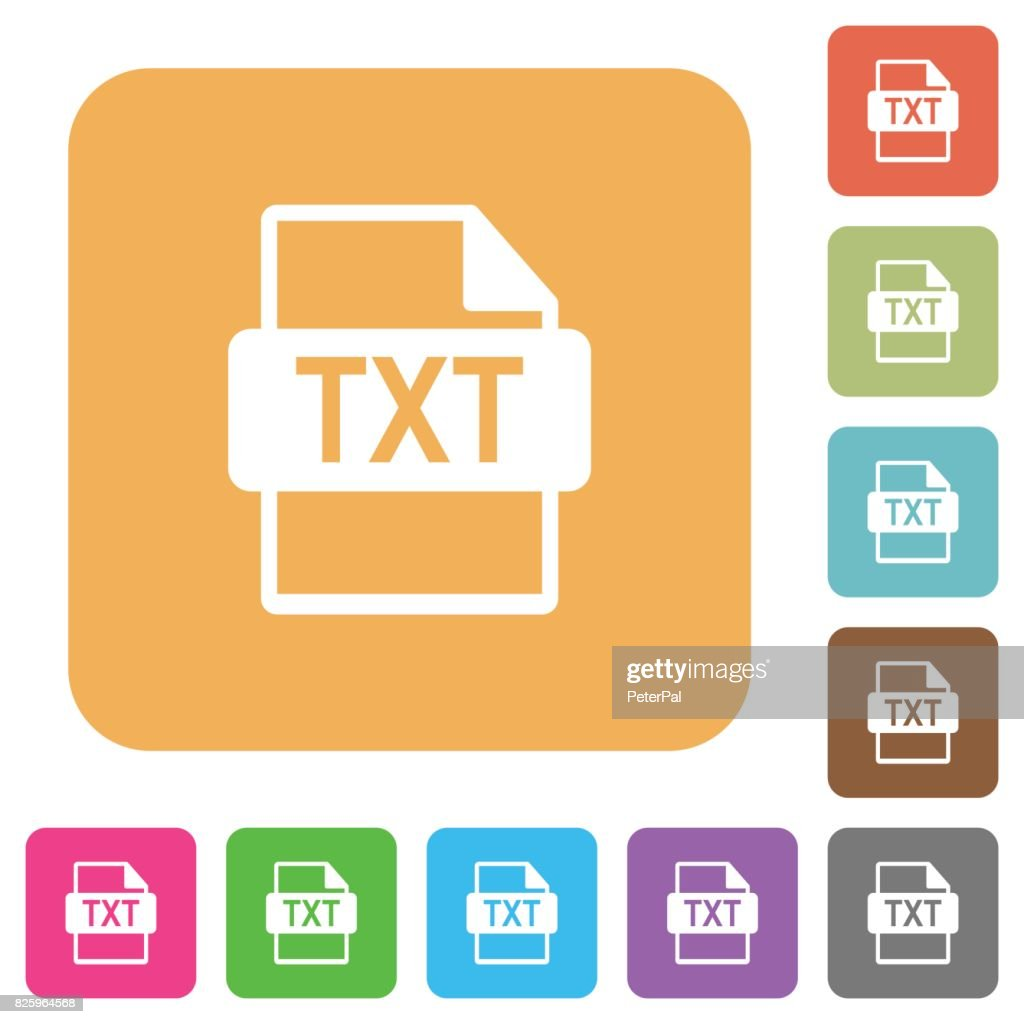 TXT file format rounded square flat icons