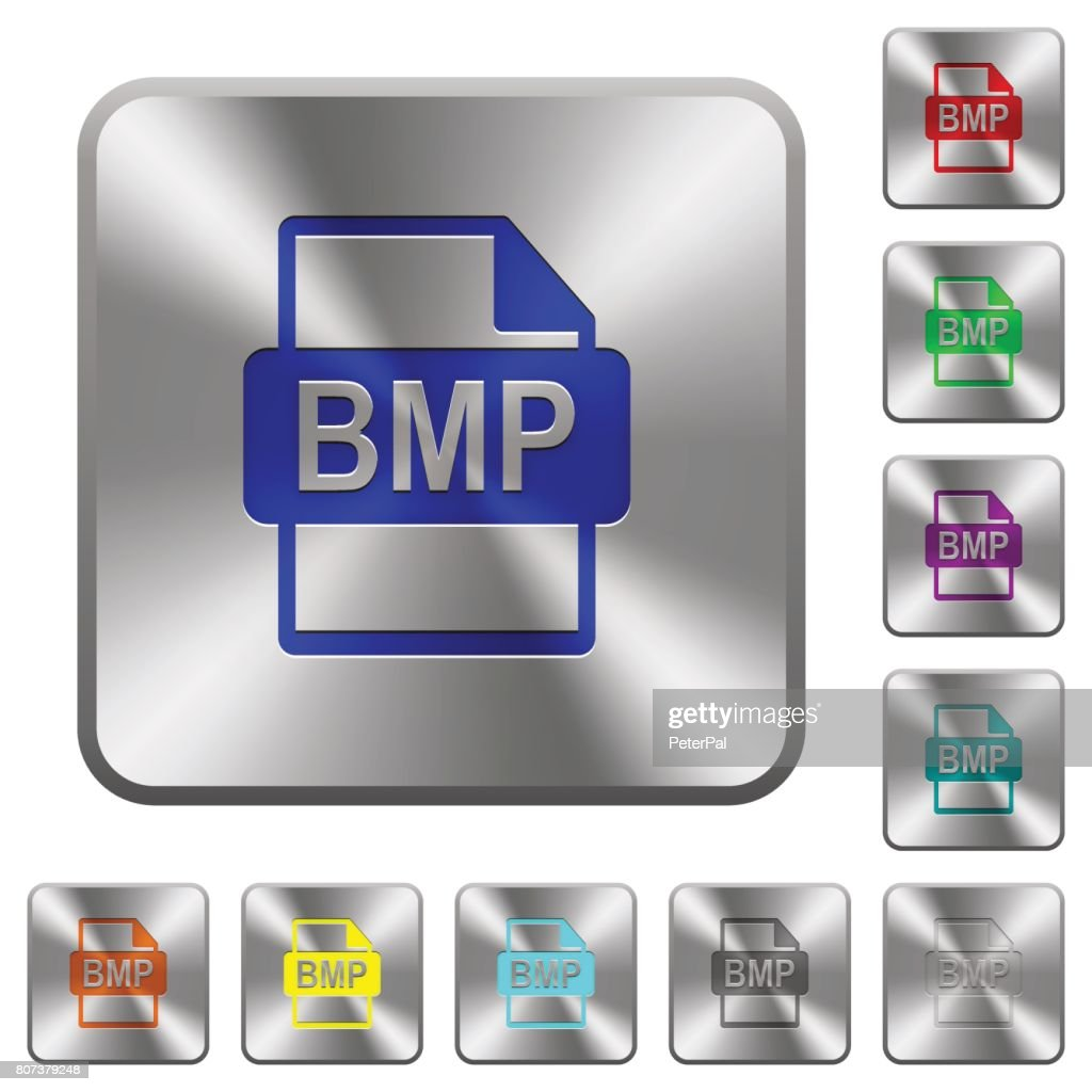 BMP file format rounded square steel buttons