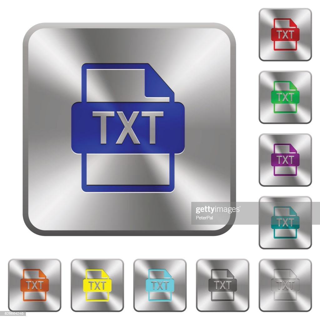 TXT file format rounded square steel buttons