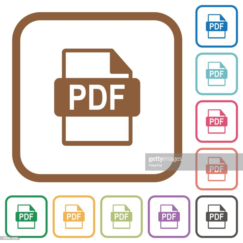 PDF file format simple icons