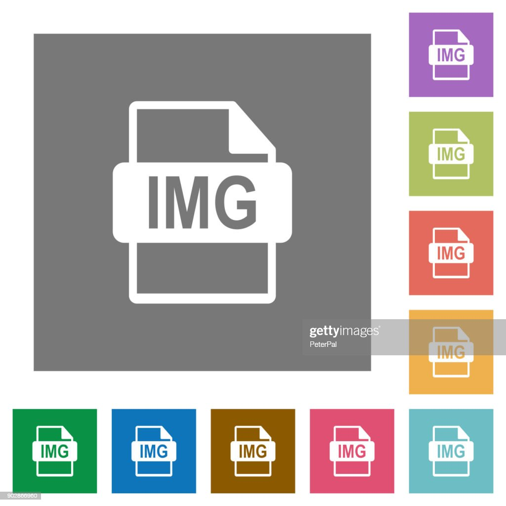 IMG file format square flat icons
