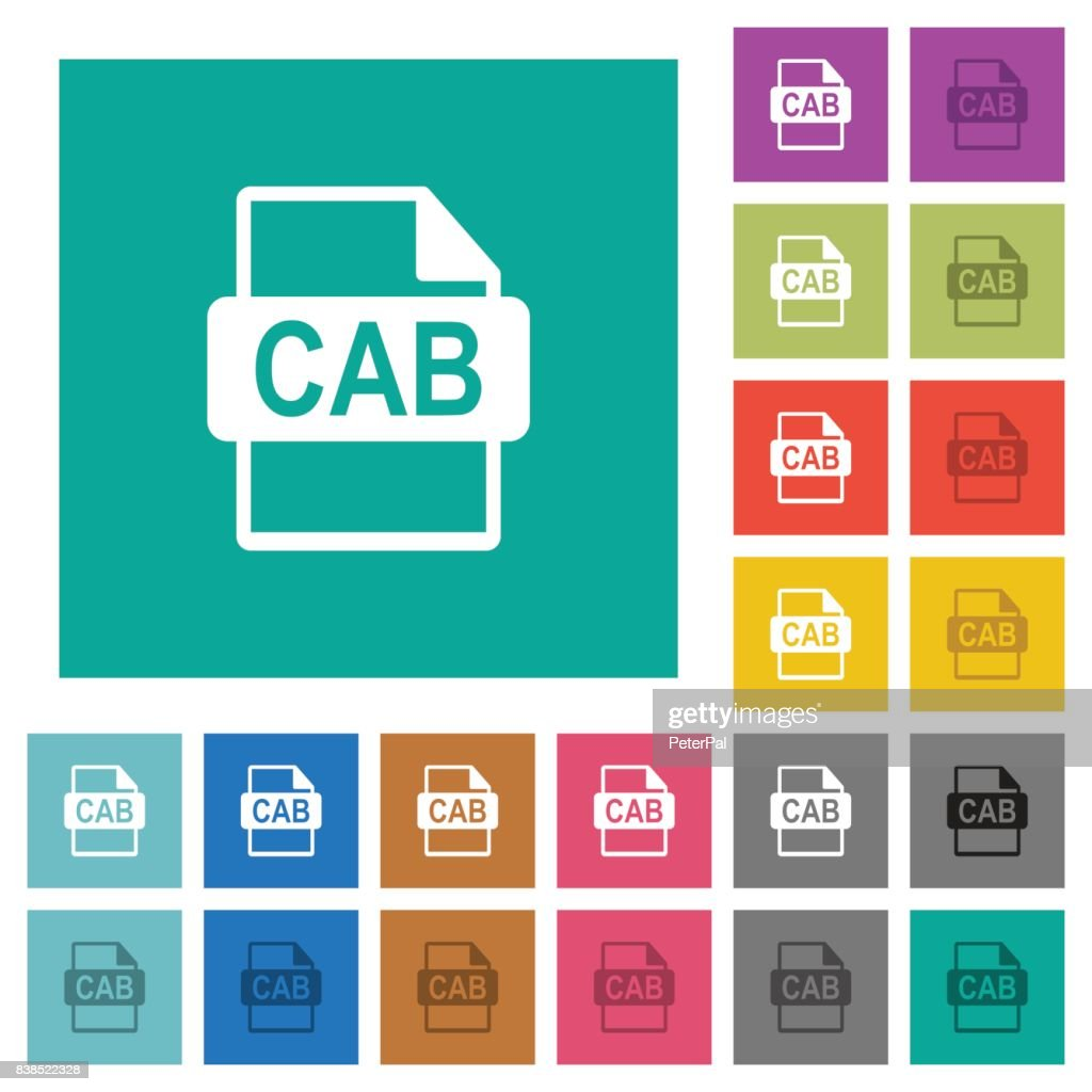 CAB file format square flat multi colored icons