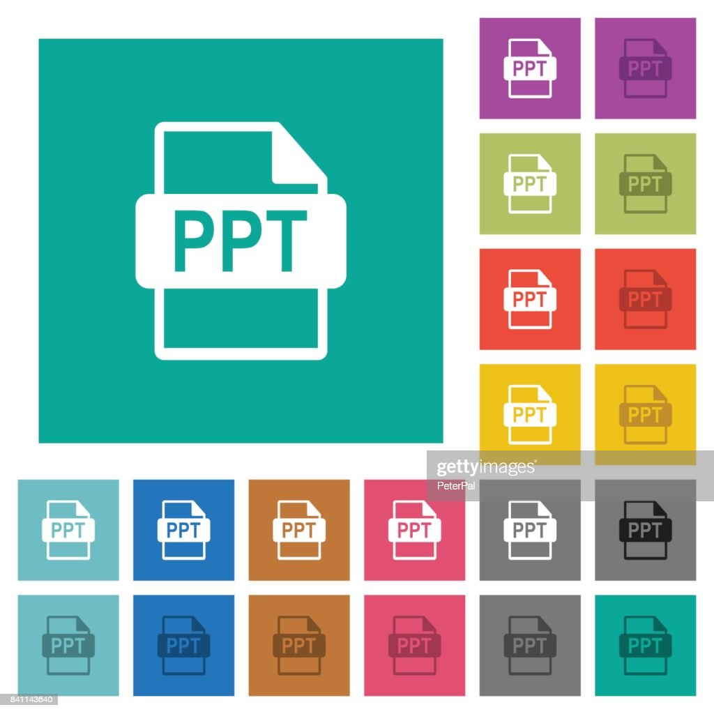 PPT file format square flat multi colored icons