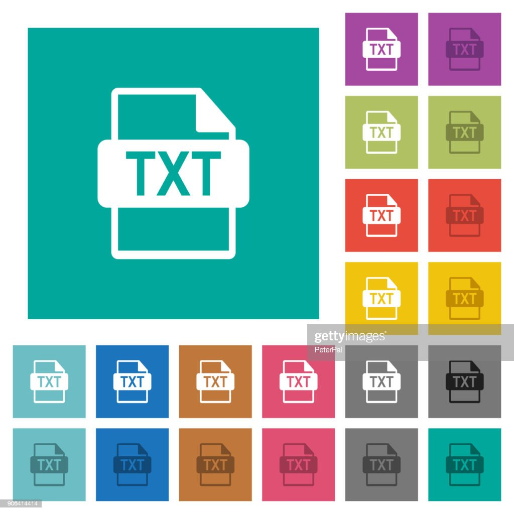 TXT file format square flat multi colored icons