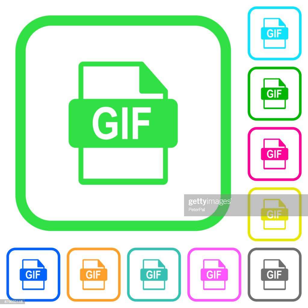 GIF file format vivid colored flat icons icons