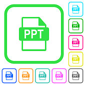 PPT file format vivid colored flat icons icons