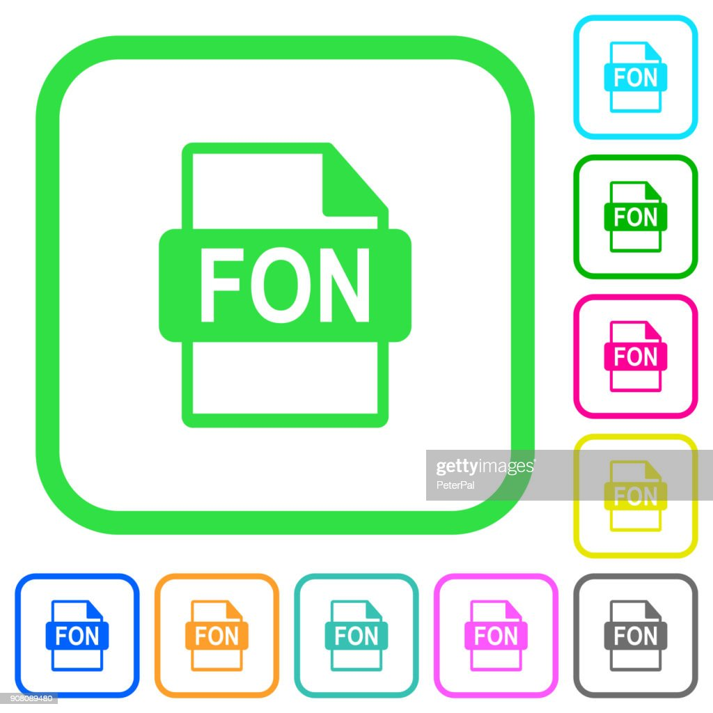 FON file format vivid colored flat icons