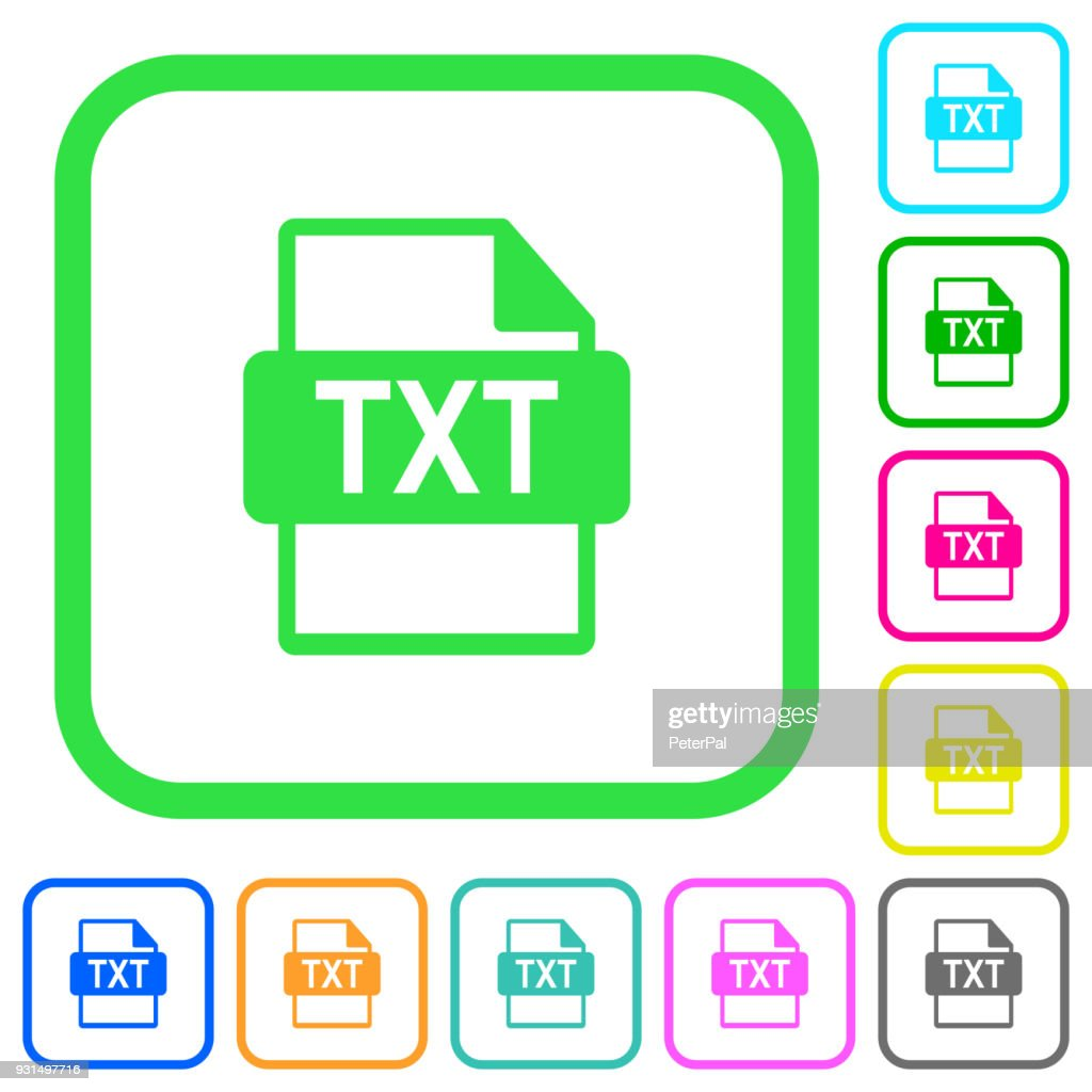 TXT file format vivid colored flat icons
