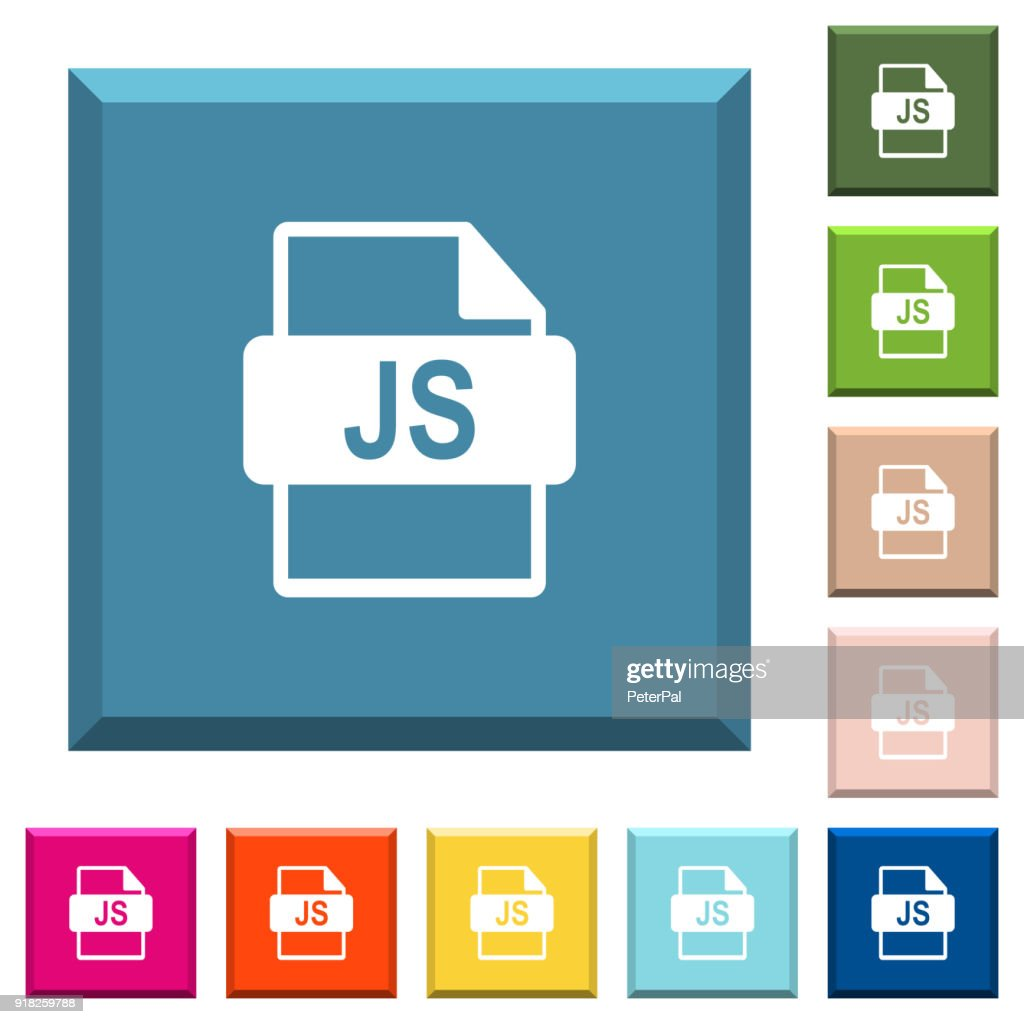 JS file format white icons on edged square buttons
