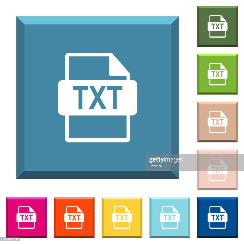 TXT file format white icons on edged square buttons