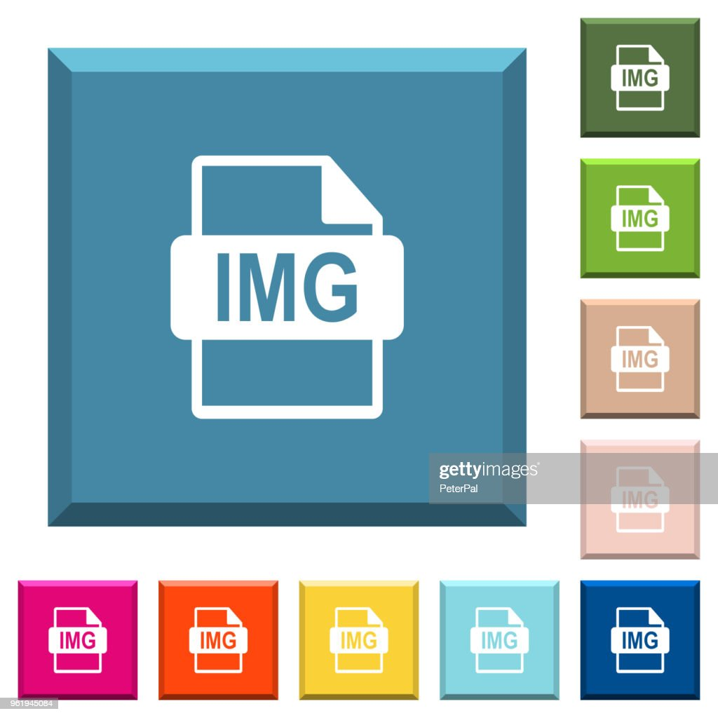 IMG file format white icons on edged square buttons