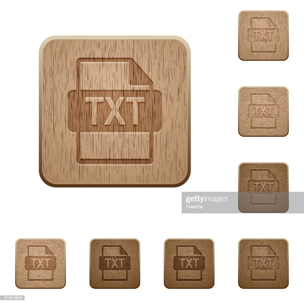 TXT file format wooden buttons