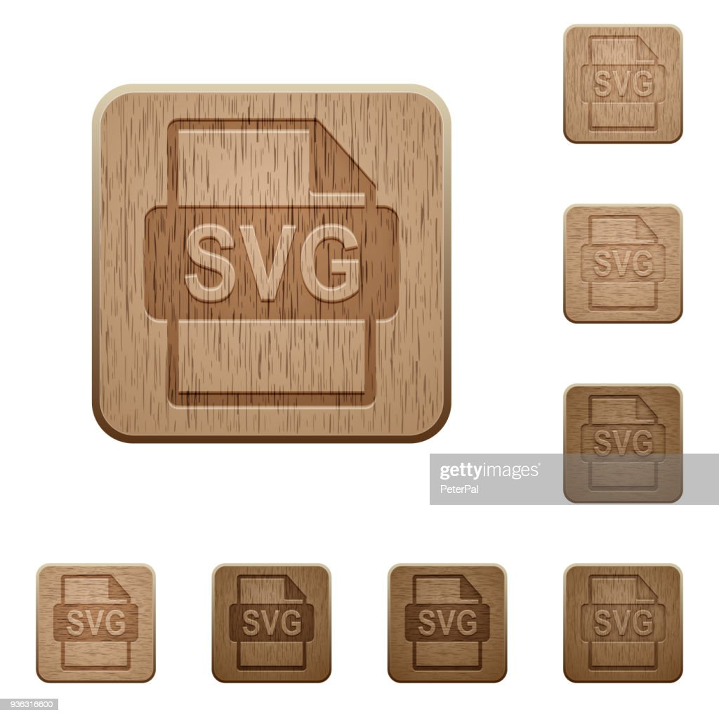 SVG file format wooden buttons