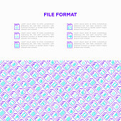 File formats concept with thin line icons: doc, pdf, php, html, jpg, png, txt, mov, eps, zip, css, js. Modern vector illustration, print media template.