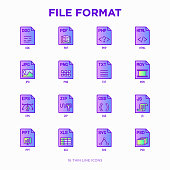 File formats thin line icons set: doc, pdf, php, html, jpg, png, txt, mov, eps, zip, css, js. Modern vector illustration.