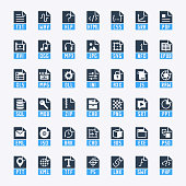 File formats vector icon set in glyph style